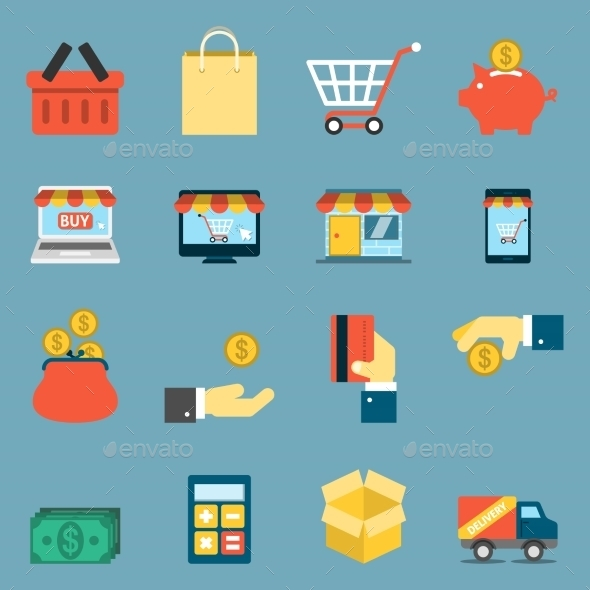 On Line Shopping Icons - Business Icons