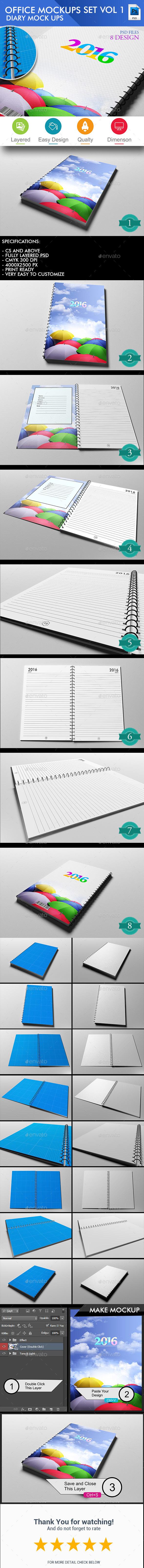 Diary Cover Mockup - Volume 1 - Books Print