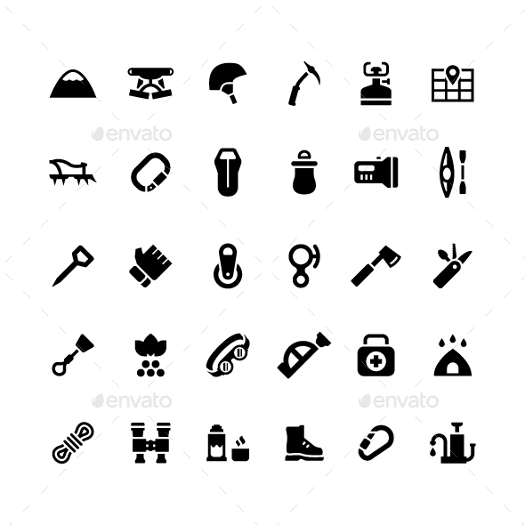 Set Icons of Camping and Mountaineering - Man-made objects Objects
