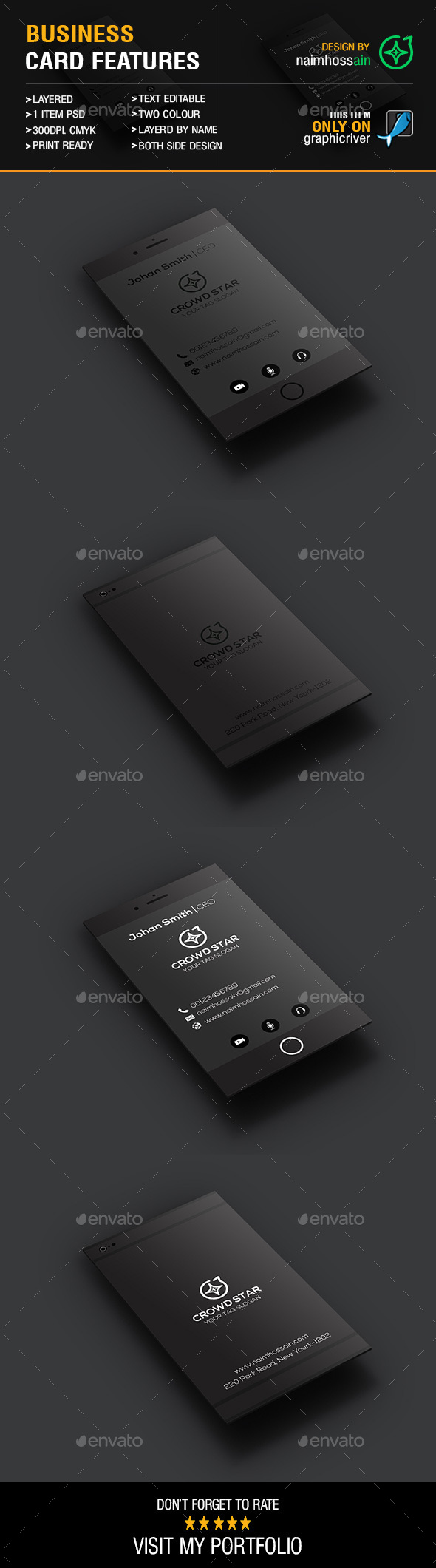 Mobile Business Card - Business Cards Print Templates