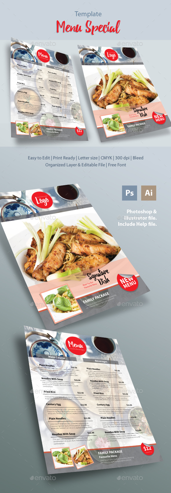 Menu Special Template - Food Menus Print Templates