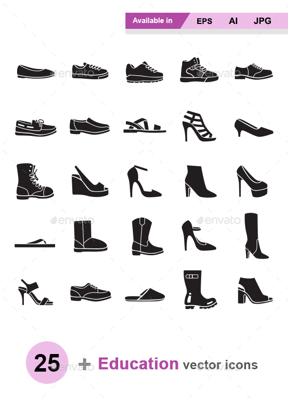 Shoes vector icons - Man-made objects Objects