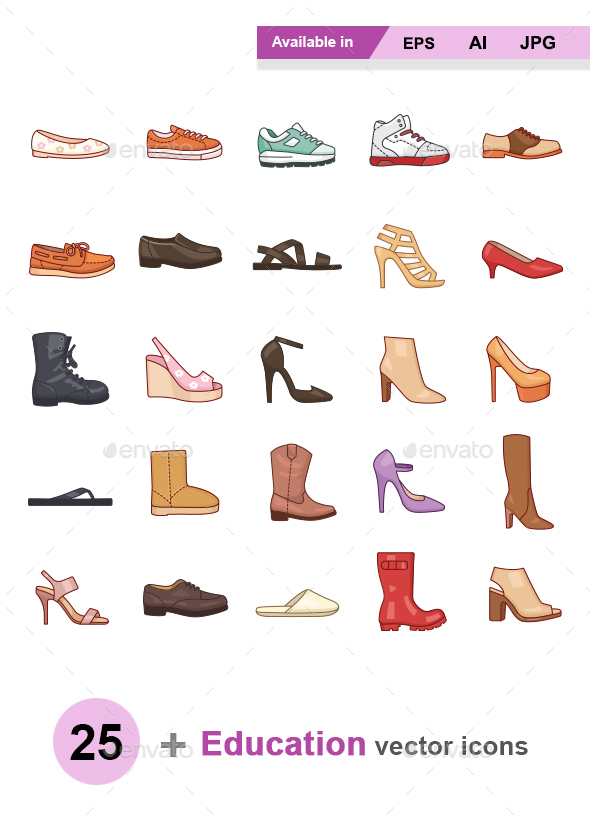 Shoes color vector icons - Man-made objects Objects