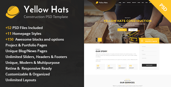 Yellow Hats – Construction Business PSD Template