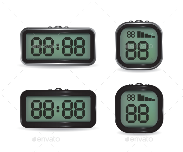 Digital Clock and Stopwatch Illustration - Computers Technology