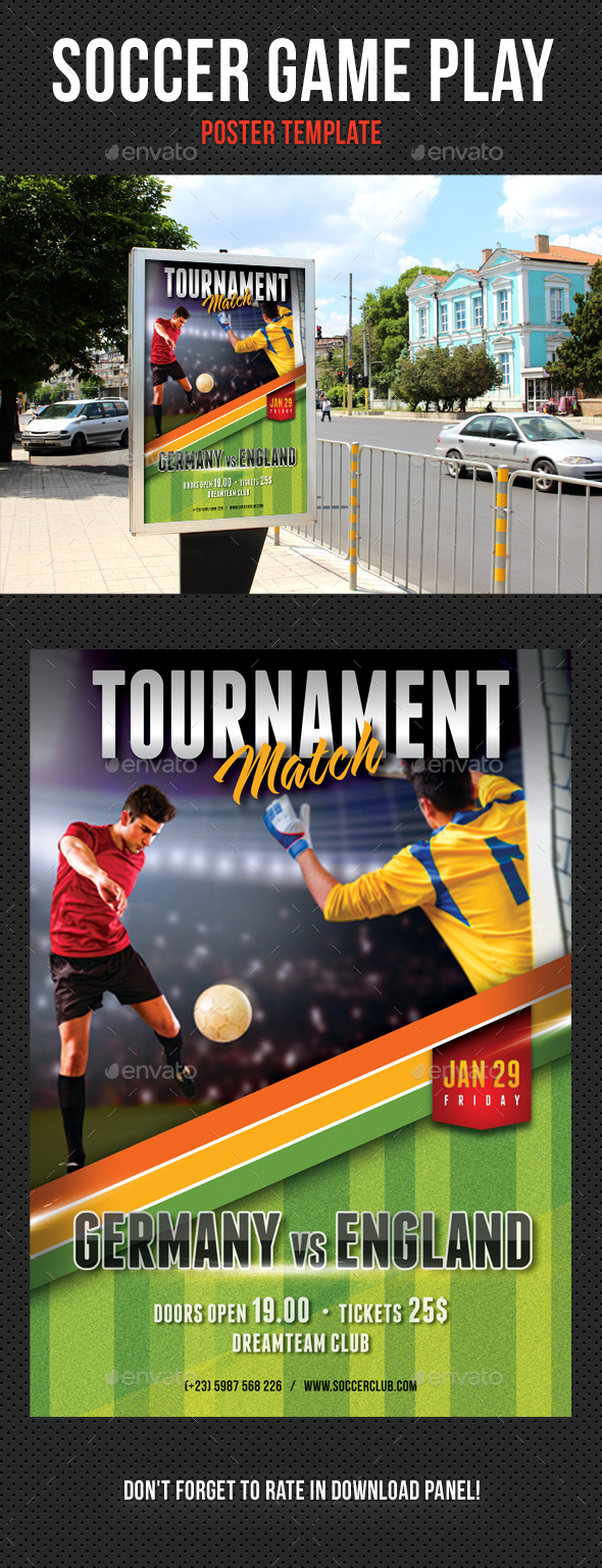 Soccer Game Play Poster - Signage Print Templates