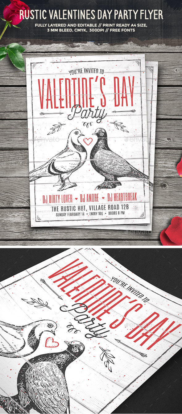 Rustic Valentines Day Party Flyer - Clubs & Parties Events