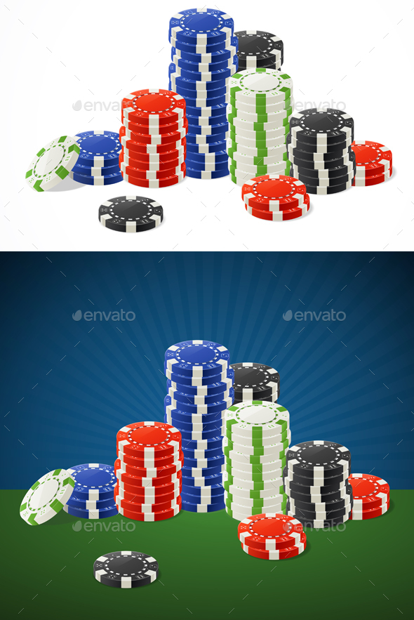 Casino Gambling Chips Stacks - Miscellaneous Vectors