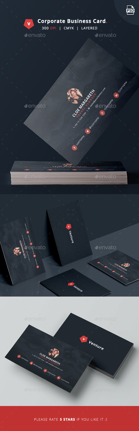 Corporate Business Card - Venture - Corporate Business Cards
