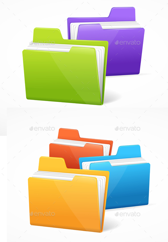 File Folder Colorful Set - Computers Technology