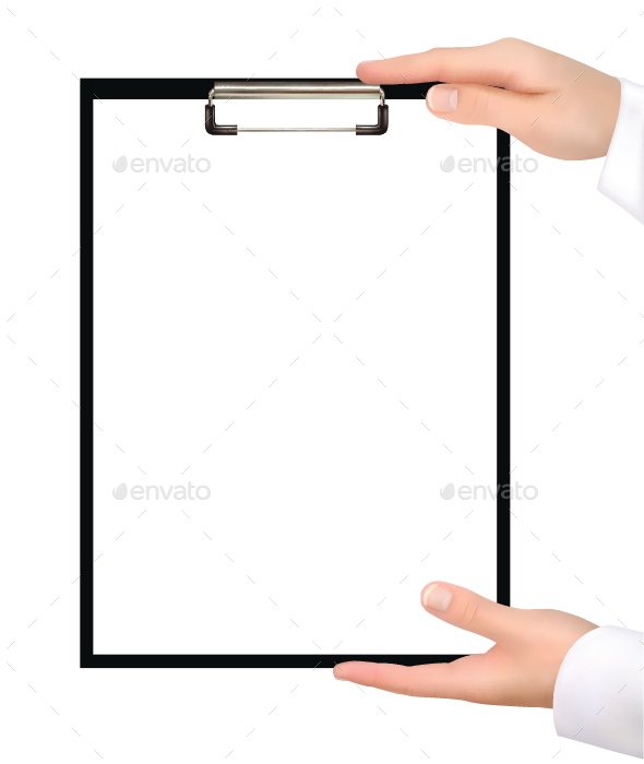 Hands Holding Clipboard - Concepts Business