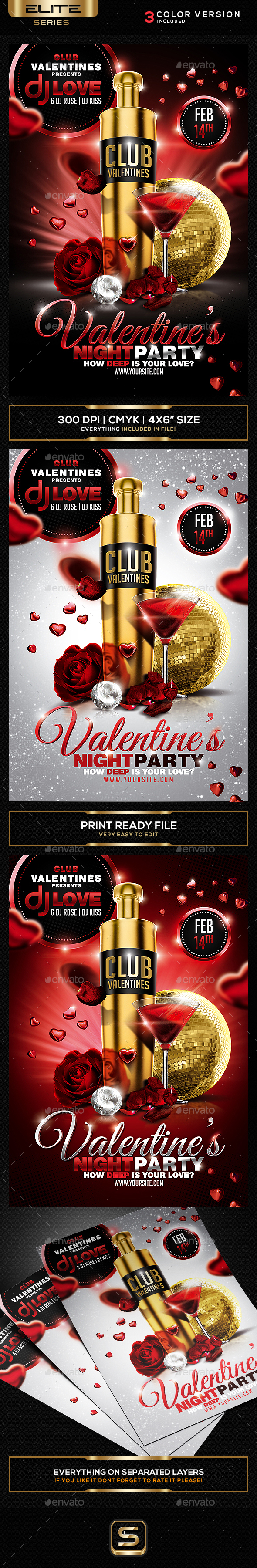 Valentine's Night Flyer - Clubs & Parties Events