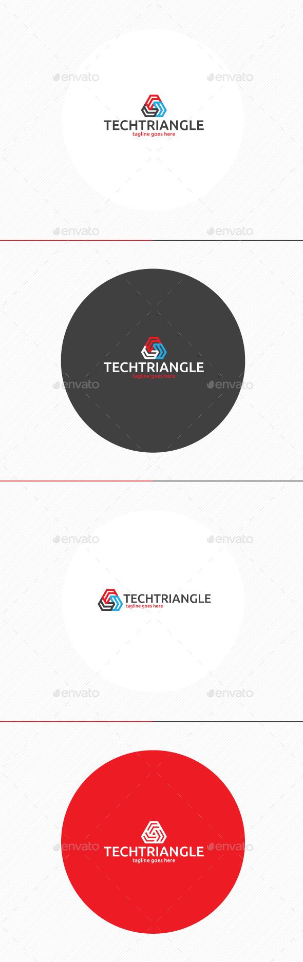 Tech Triangle Logo - Vector Abstract