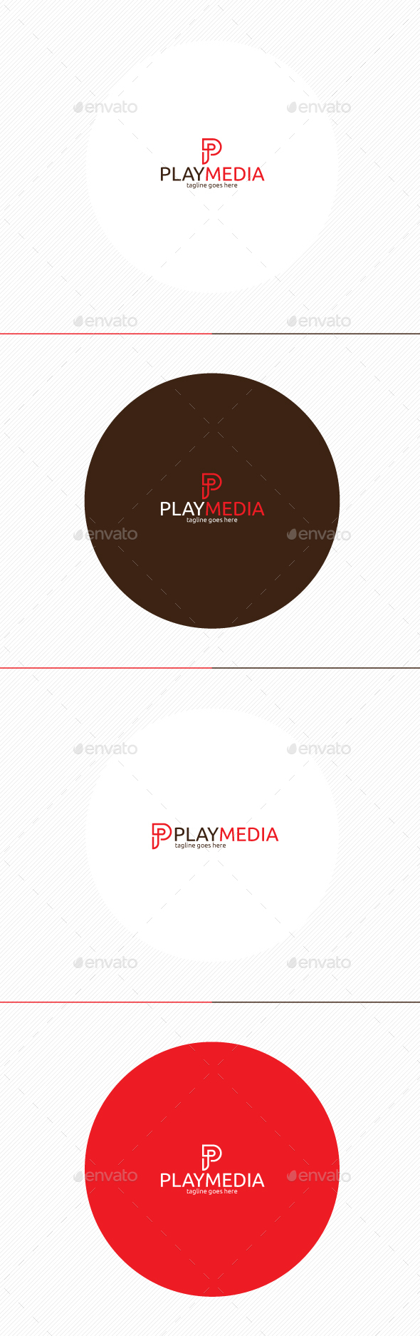 Play Media Logo • Letter P - Letters Logo Templates