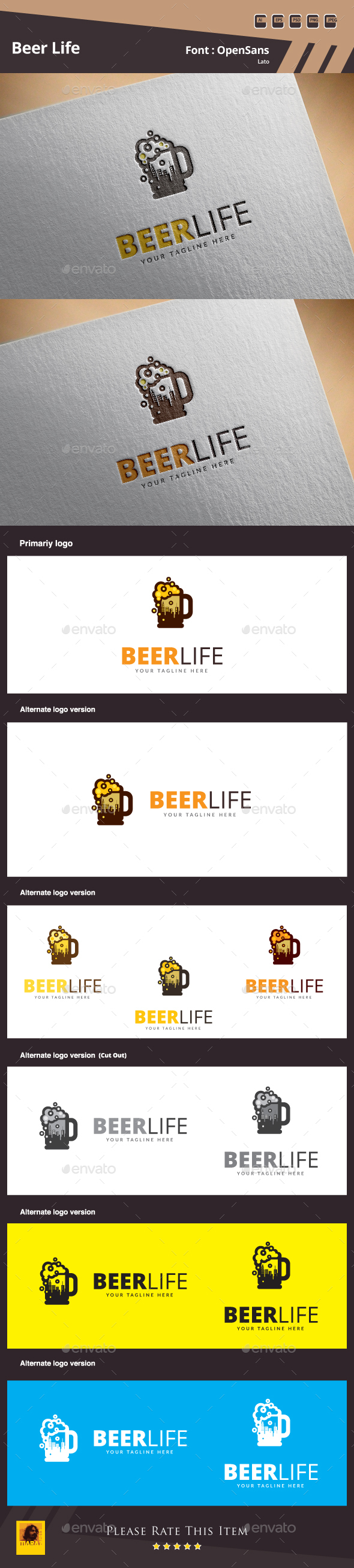 Beer Life Logo - Food Logo Templates