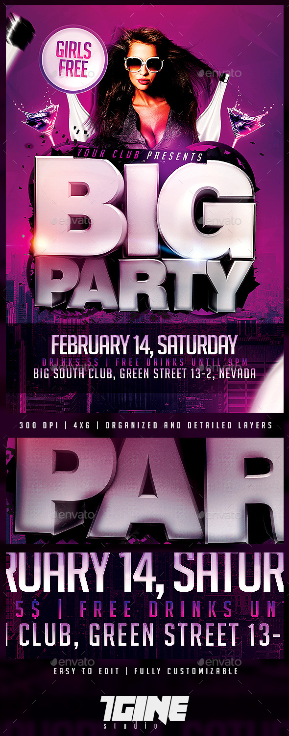 Big Party Flyer Template - Clubs & Parties Events