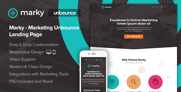 Marky –  Marketing Unbounce Landing Page