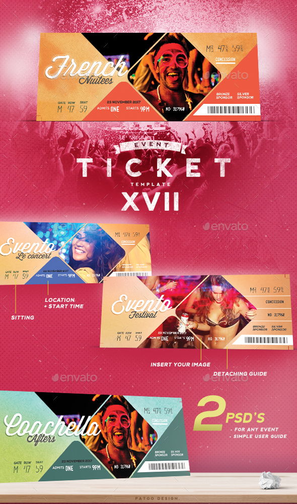 Event Tickets Template XVII - Miscellaneous Print Templates