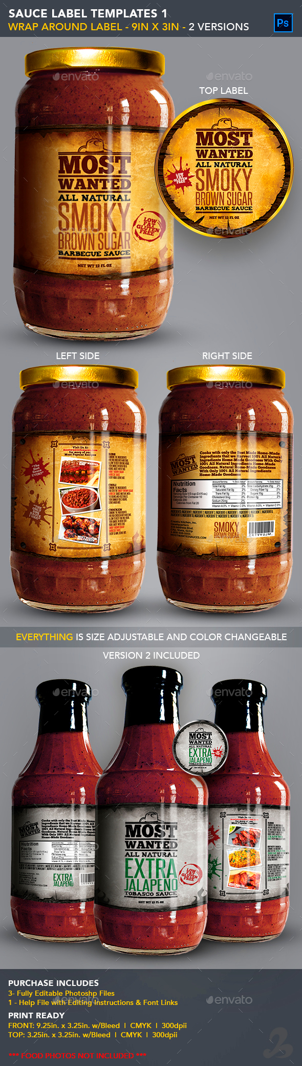 Sauce Jar Label Templates - Western - Packaging Print Templates