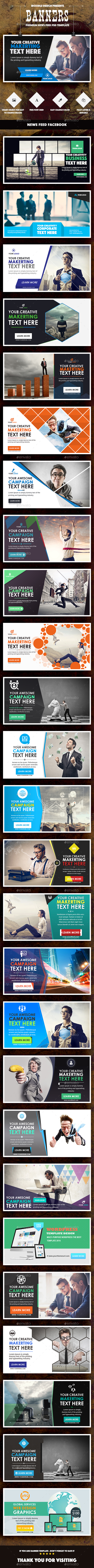 News Feed Multipurpose Banners Ads - 27 PSD - Banners & Ads Web Elements