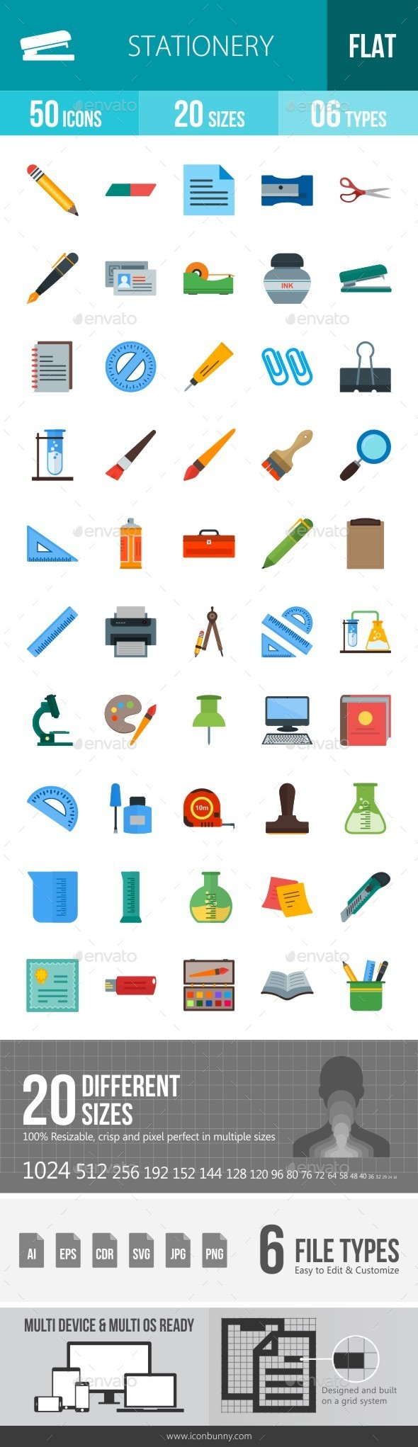 Stationery Flat Multicolor Icons - Icons