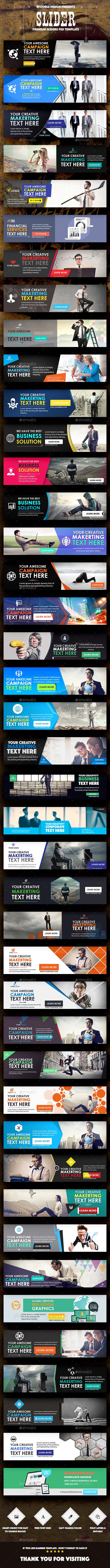 Multipurpose Sliders - 42 PSD - Sliders & Features Web Elements
