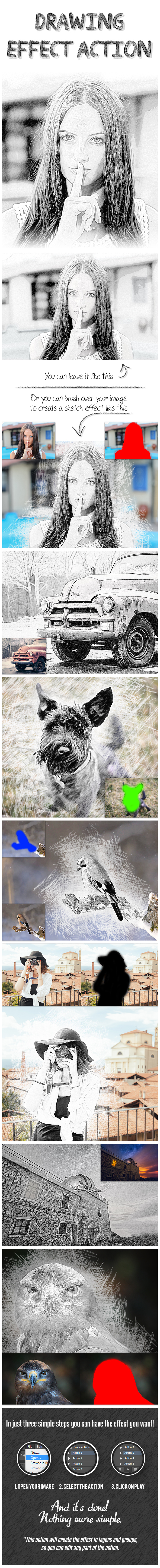 Drawing Effect Photoshop Action - Photo Effects Actions