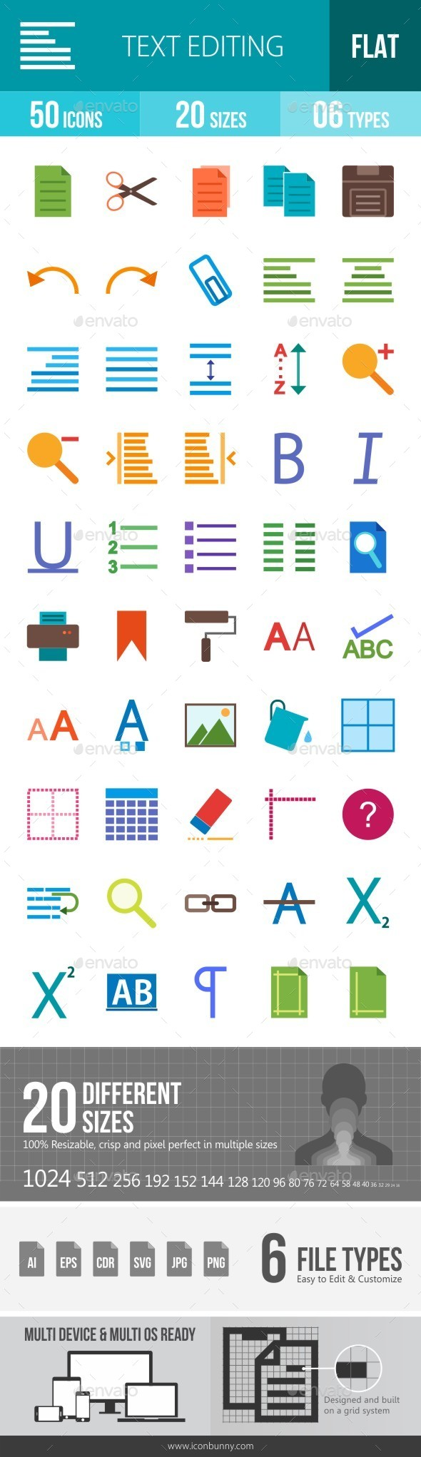 Text Editing Flat Multicolor Icons - Icons