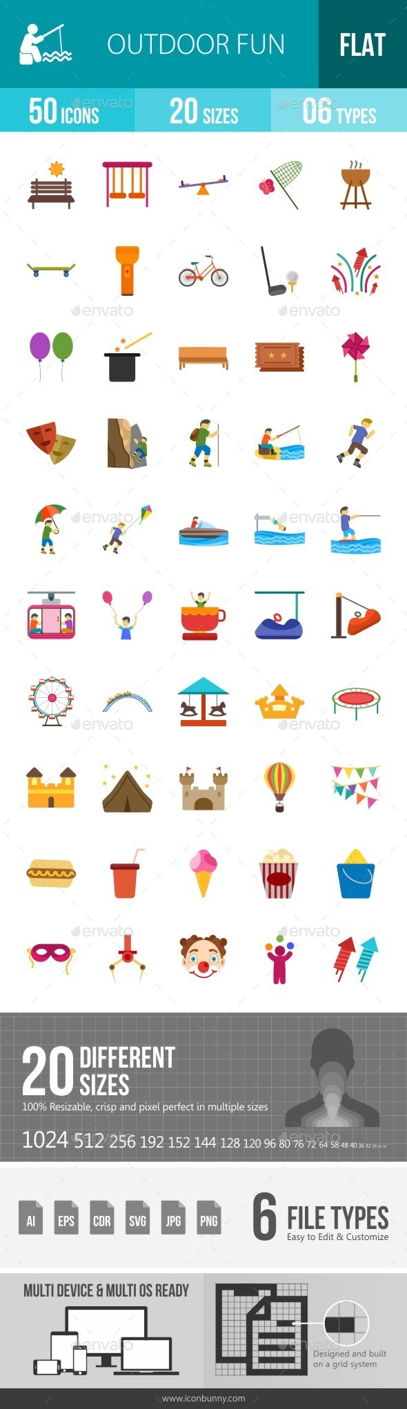 Outdoor Fun Flat Multicolor Icons - Icons
