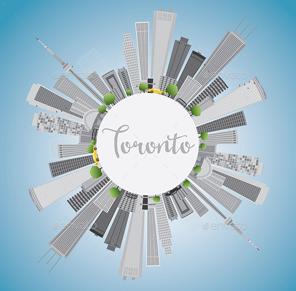 Toronto Skyline with Gray Buildings - Buildings Objects