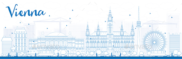 Outline Vienna Skyline with Blue Buildings. - Buildings Objects