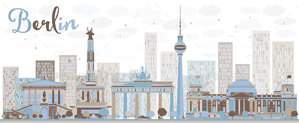 Abstract Berlin Skyline with Color Buildings. - Buildings Objects