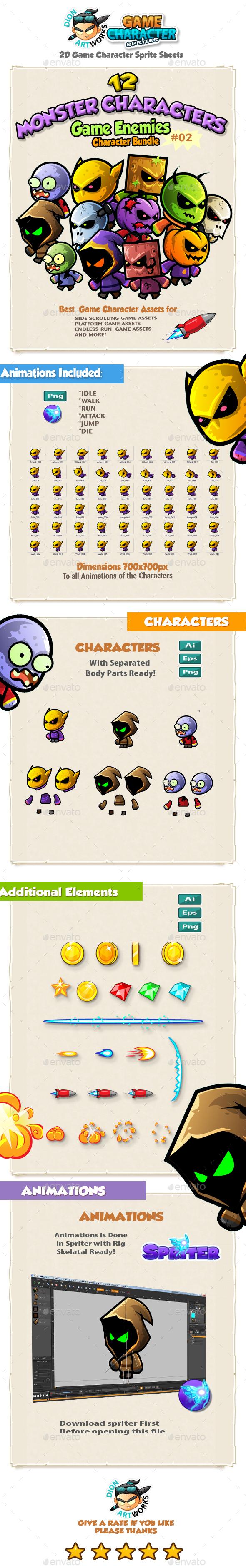 2D Game Enemies Character Sprites Bundle Pack 02 - Sprites Game Assets
