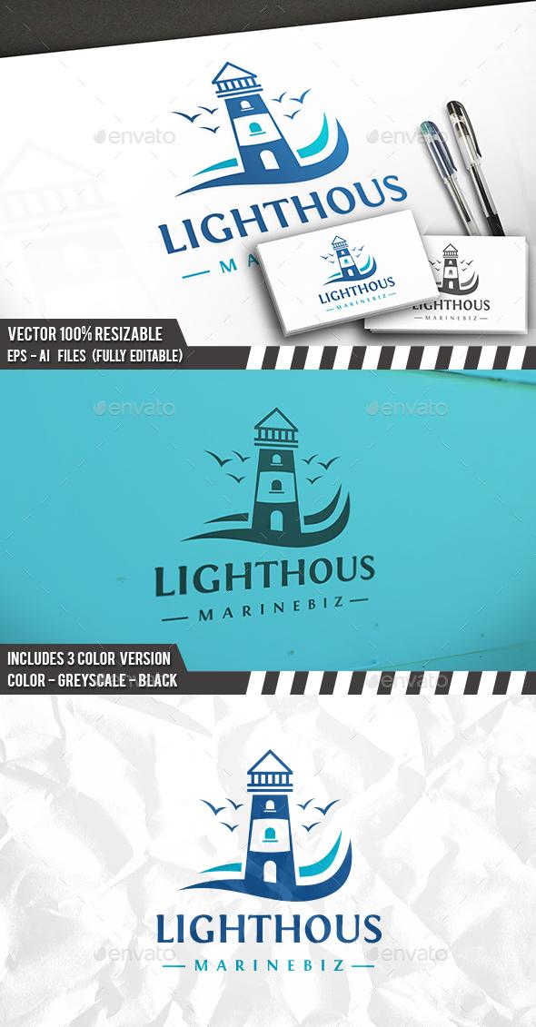 Lighthouse Birds Logo - Buildings Logo Templates
