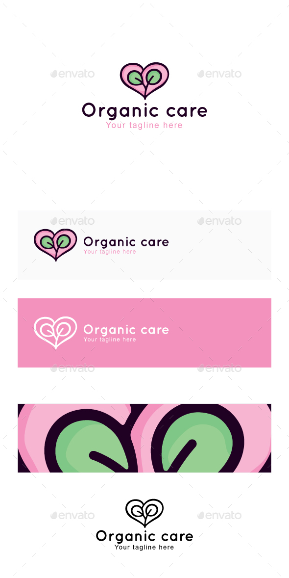 Organic Care - Nature Heart Stock Logo Template - Nature Logo Templates