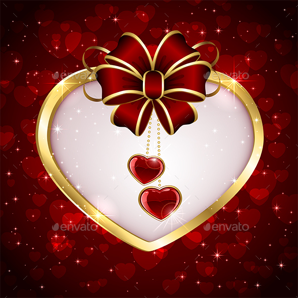 Golden Heart on Red Background - Valentines Seasons/Holidays
