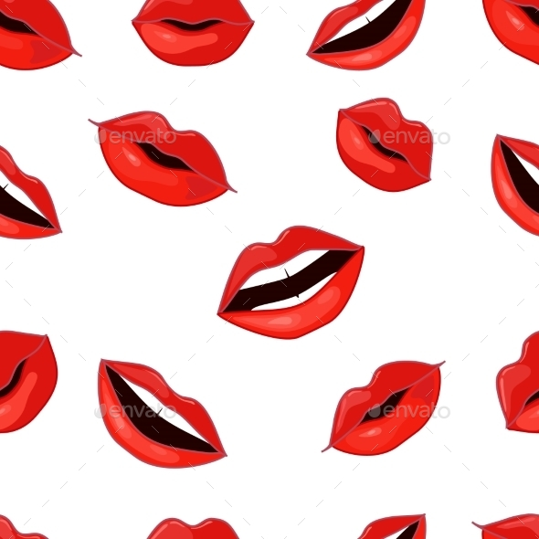 Red Lips Pattern. Vector Illustration - Valentines Seasons/Holidays