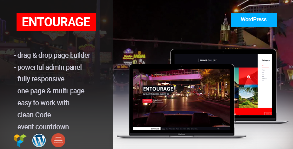 Entourage - Movie/Film/Cinema/TV WordPress Theme - Film & TV Entertainment