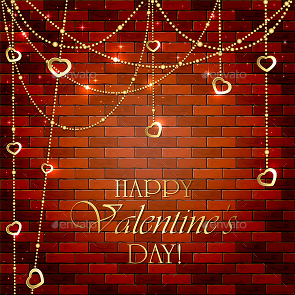 Valentines Decorations on Brick Wall - Valentines Seasons/Holidays