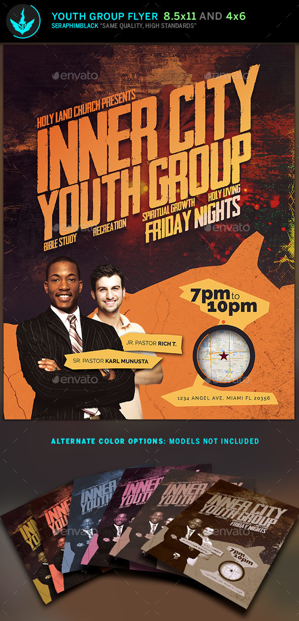 Inner City Youth Group Flyer Template - Church Flyers