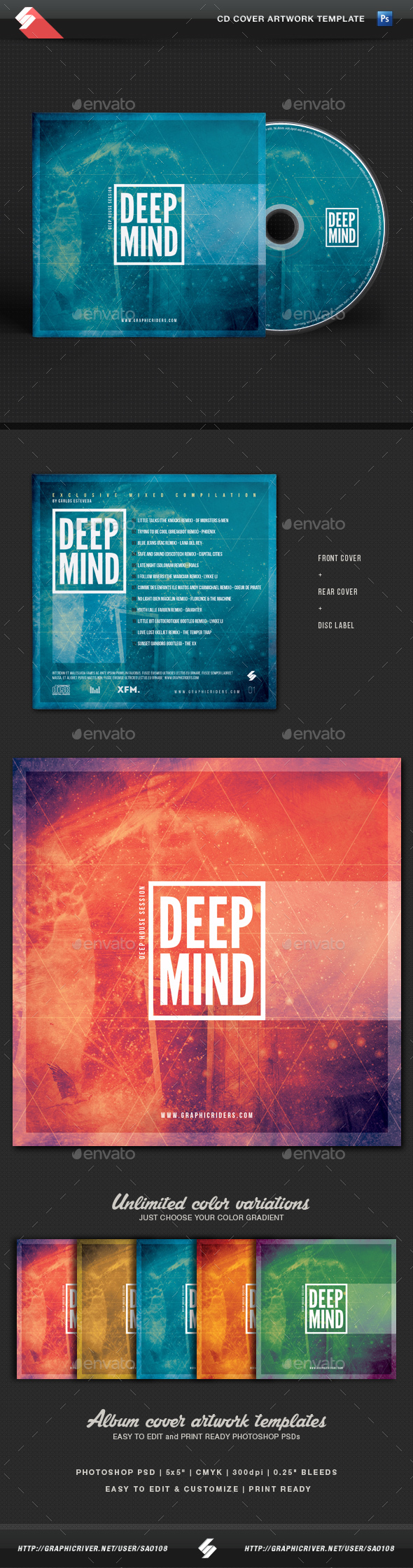 Deep Mind - CD Cover Artwork Template - CD & DVD Artwork Print Templates