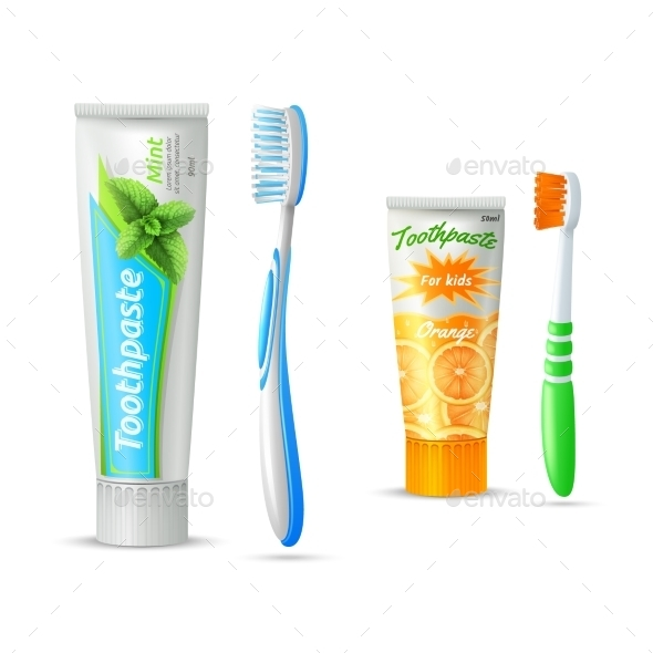 Toothpaste And Toothbrush For Kids And Adults - Health/Medicine Conceptual