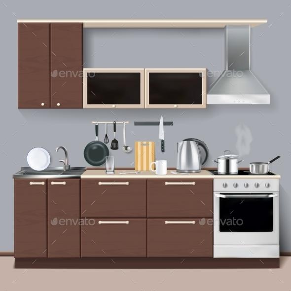 Modern Kitchen Interior In Realistic Style  - Decorative Symbols Decorative