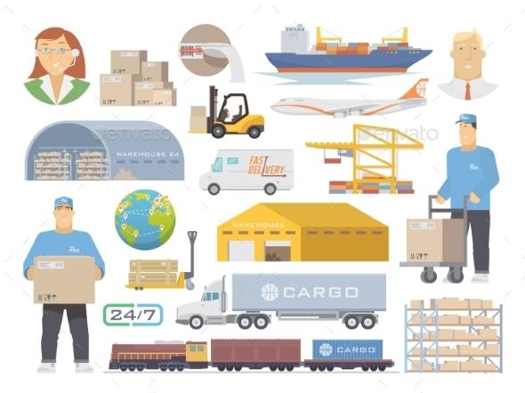 Logistics Vector Flat Icons - Travel Conceptual