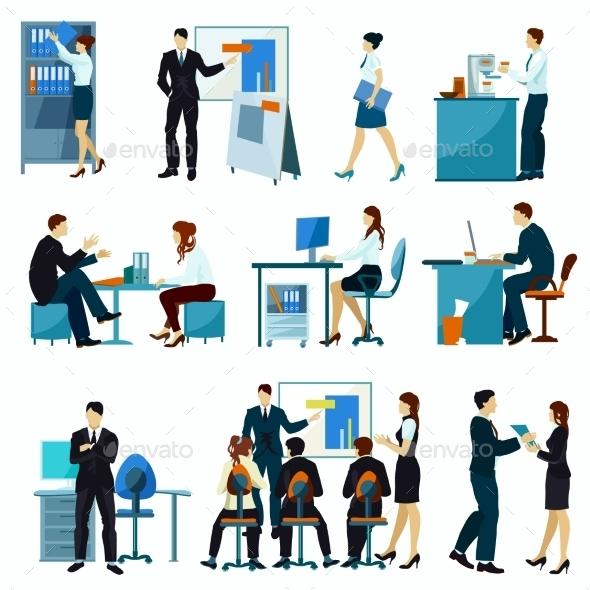 Office Workers Flat Set - Decorative Symbols Decorative