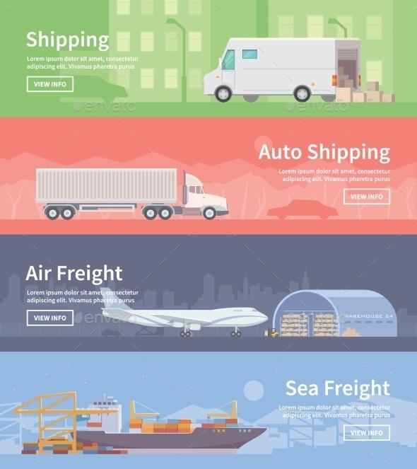 Flat Vector Web Banner. Logistics. Part 1 - Travel Conceptual