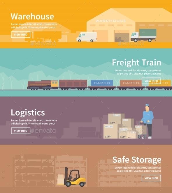 Flat Vector Web Banner. Logistics. Part 2 - Travel Conceptual
