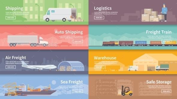 Flat Vector Web Banner. Logistics.  - Travel Conceptual