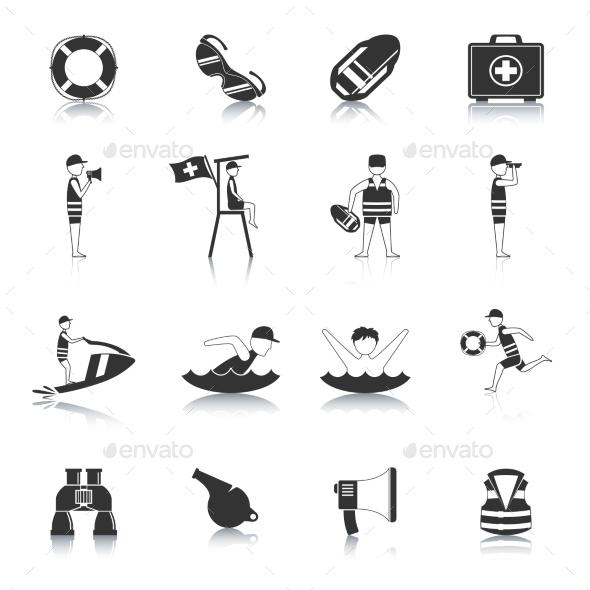 Lifeguard Black Icons Set - Miscellaneous Icons