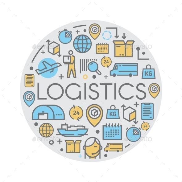 Line Vector Logistics Icons. - Travel Conceptual